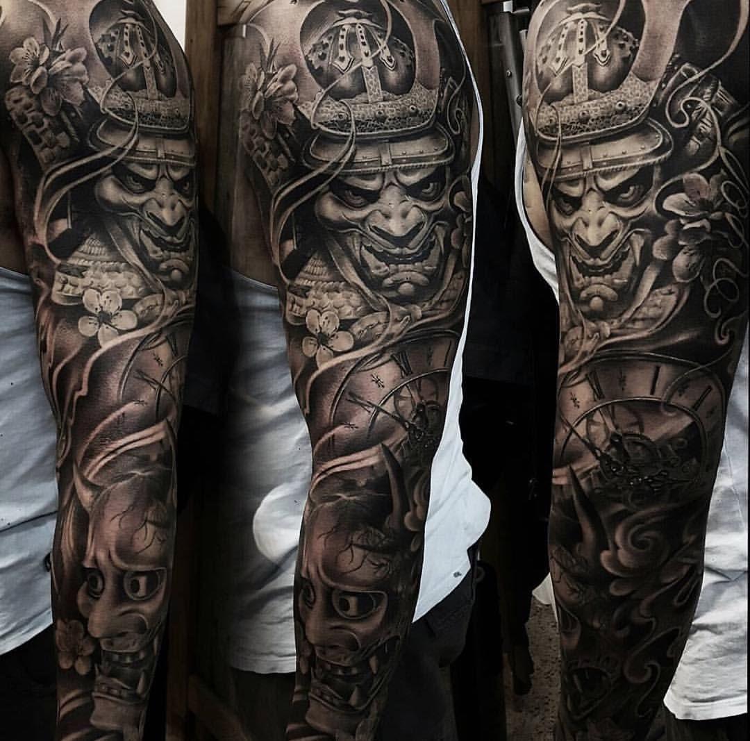 tattoo sleeve instagram samurai tattoos artists japanese asian warrior shoulder grey cool artist ig 1a