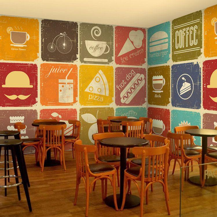 Free Shipping Nostalgic Retro Wallpaper Restaurant Tea
