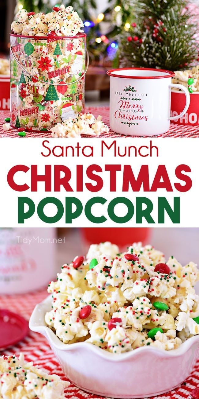 Santa Munch Christmas Popcorn is an easy treat that's perfect for gifts and parties. Salty popcorn tossed in white cake mix, M&M candies and holiday sprinkles covered in white chocolate for an irresistible snack mix even Santa will love.  Print the full recipe at TidyMom.net #popcorn #sweetandsalty #christmas via @tidymom