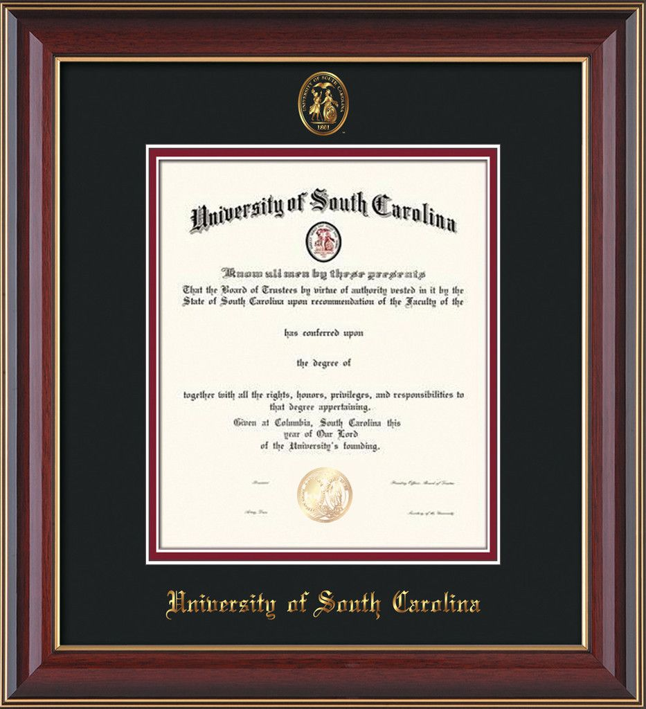 USC Upstate Diploma Frame-Cherry Lacquer-w/USCU seal-black/garnet – Professional Framing Company
