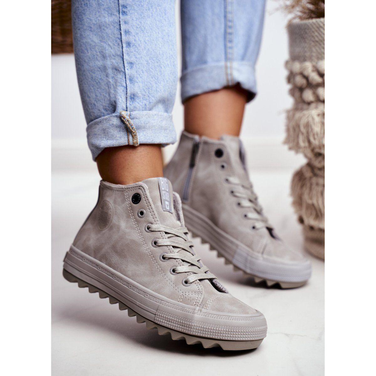 Trampki Damskie Big Star Wysokie Ocieplane Szare Gg274070 Sneakers White Sneaker High Top Sneakers
