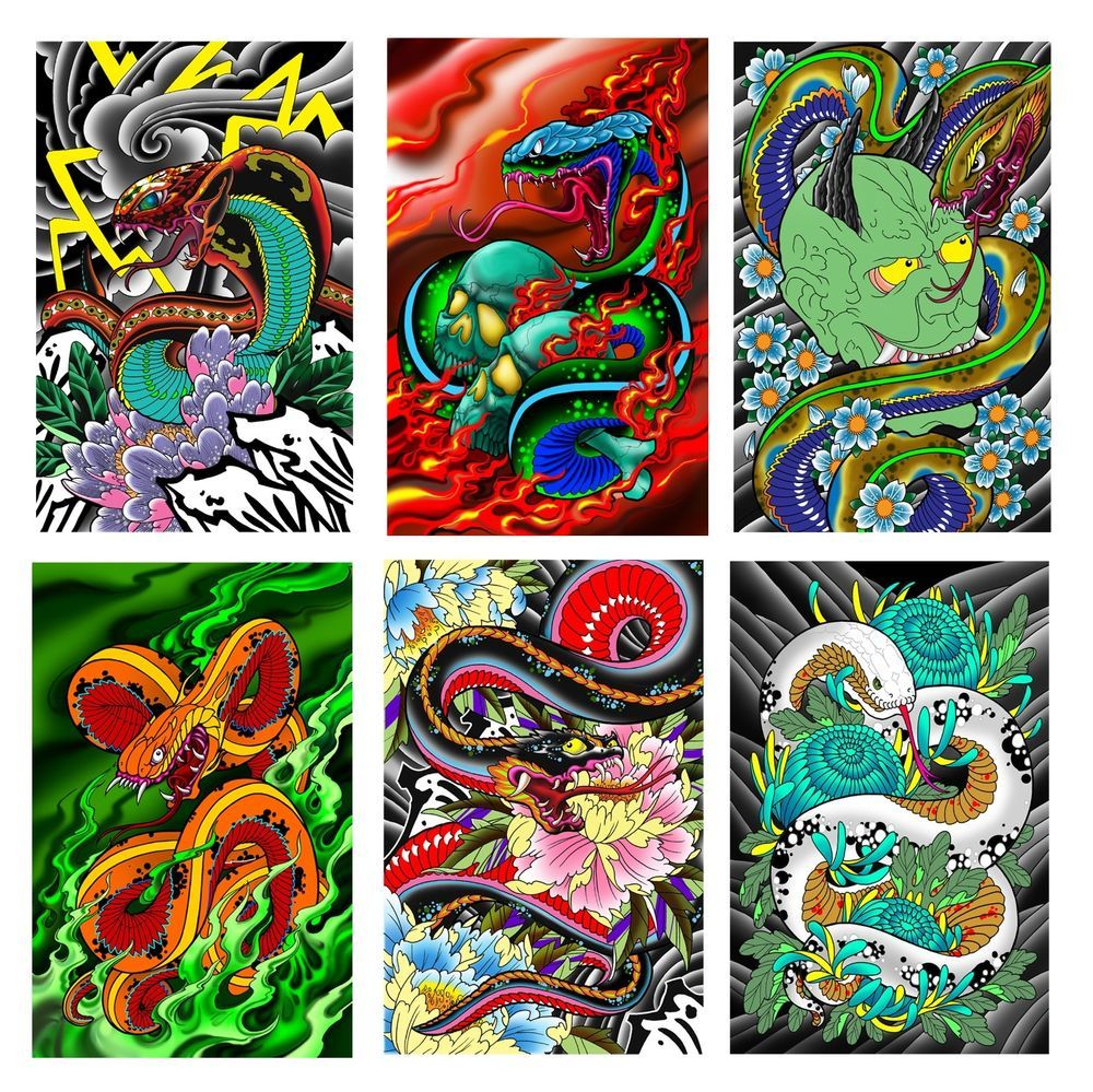 6 Snakes Laser Prints 11x17 Laminated New For 2018 Ebay Flash Tattoo Snake Tattoo Tattoo Supplies