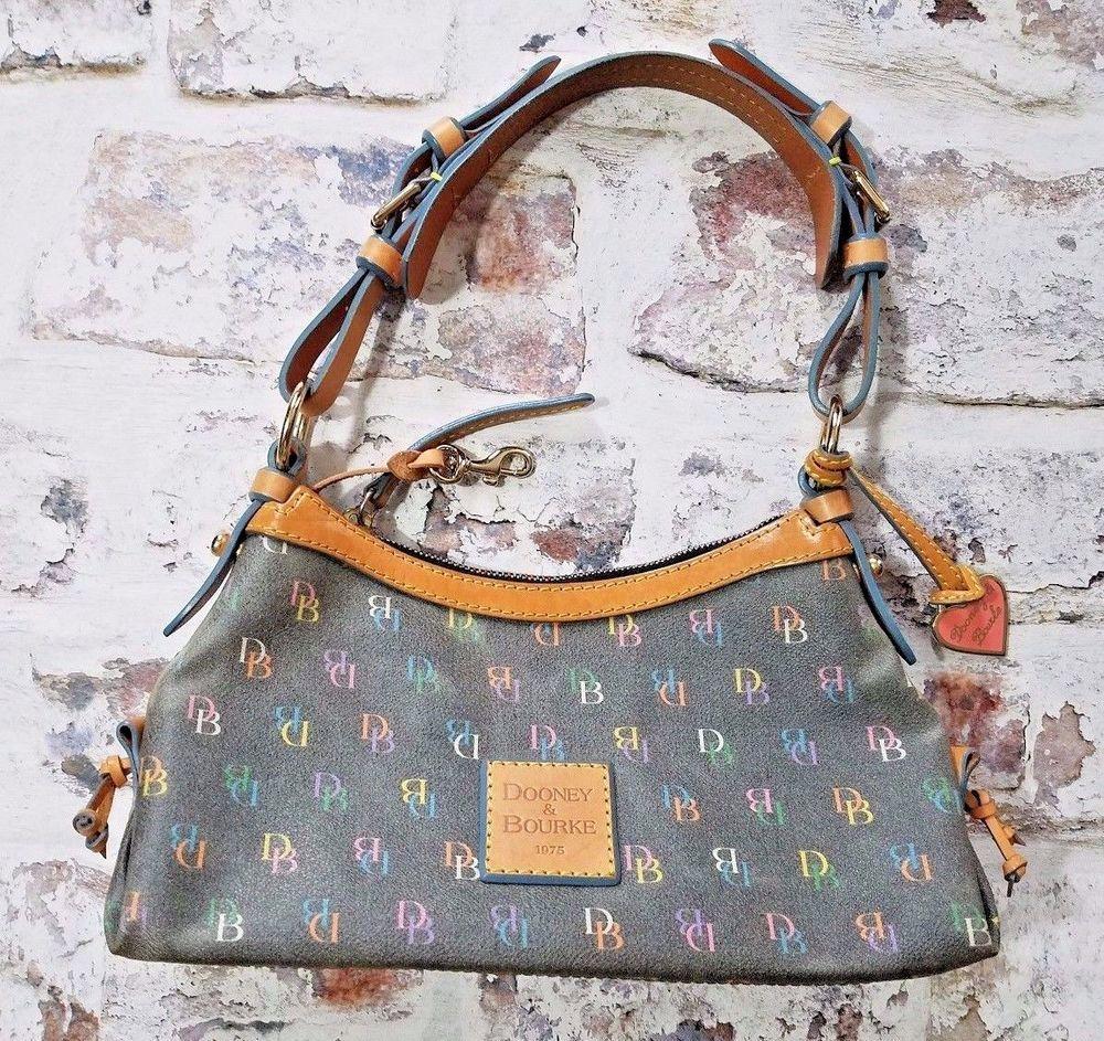 b2920606200449 DOONEY & BOURKE Small Handbag Signature DB Rainbow Logo Leather Trim  shoulder #DooneyBourke #ShoulderBag