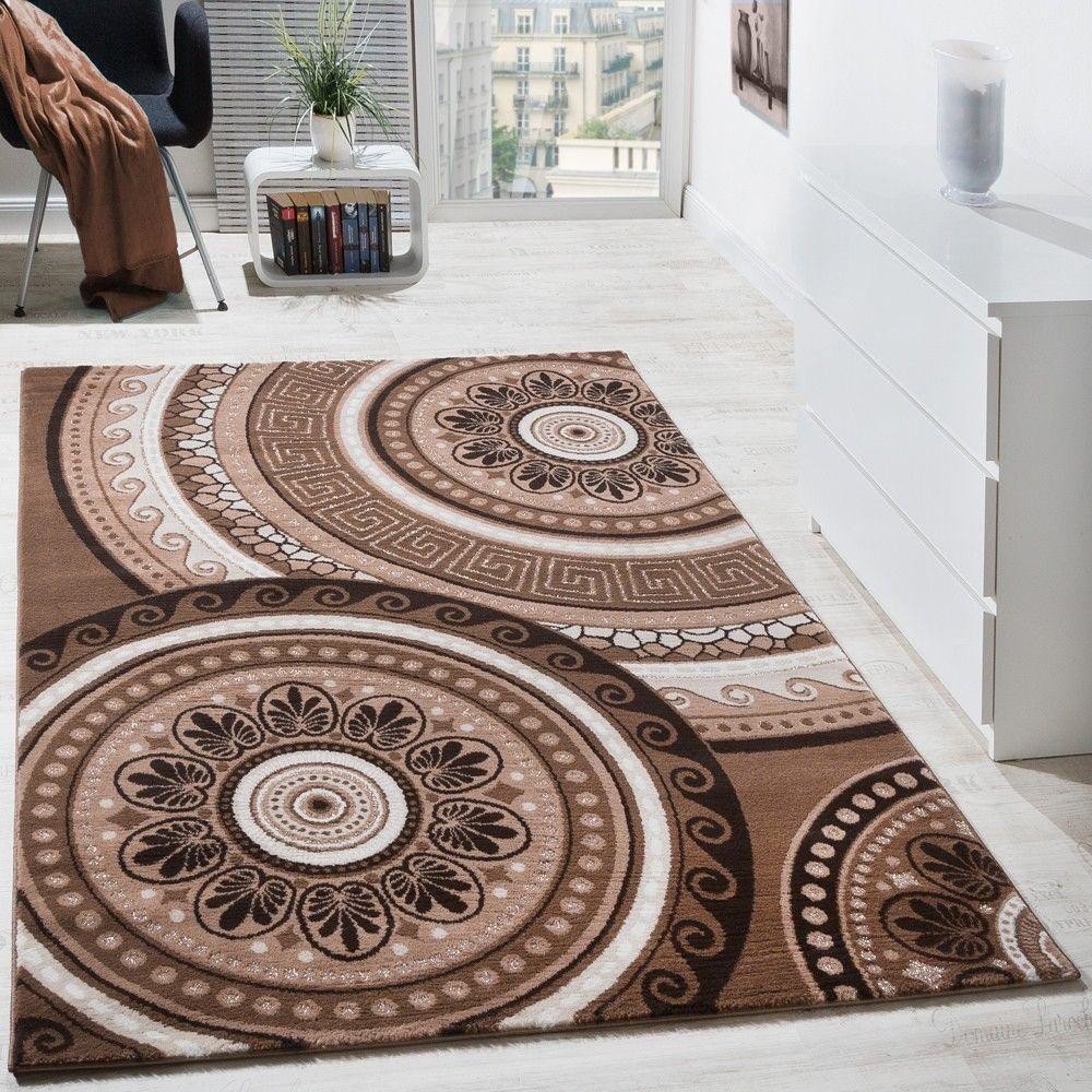 Beige Anthrazit Und Himmelblau Im Wohnzimmer: Teppich Orientalisch Kreis Ornamente Braun Beige