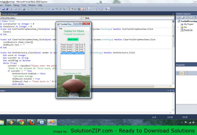 Solved Football Fever Scoreboard Solutionzip Football Fever Scoreboard Football
