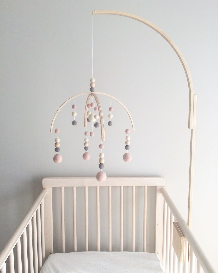 Baby bed holder - Baby Mobile Crib Baby Mobile Holder Crib Pink Dusty Pink Nursery Decor Wool Baby Girl