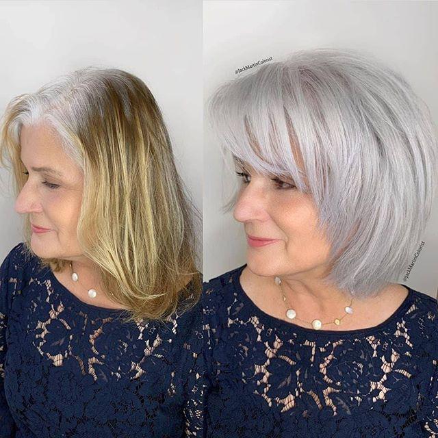 49 Perfekter Bob Frisuren Fur Altere Frauen In 2020 Grey Blonde Hair Gray Hair Growing Out Hair Transformation