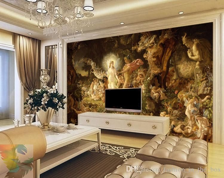 Classical oil painting wall murals custom 3d wallpaper for 3d wallpaper in room