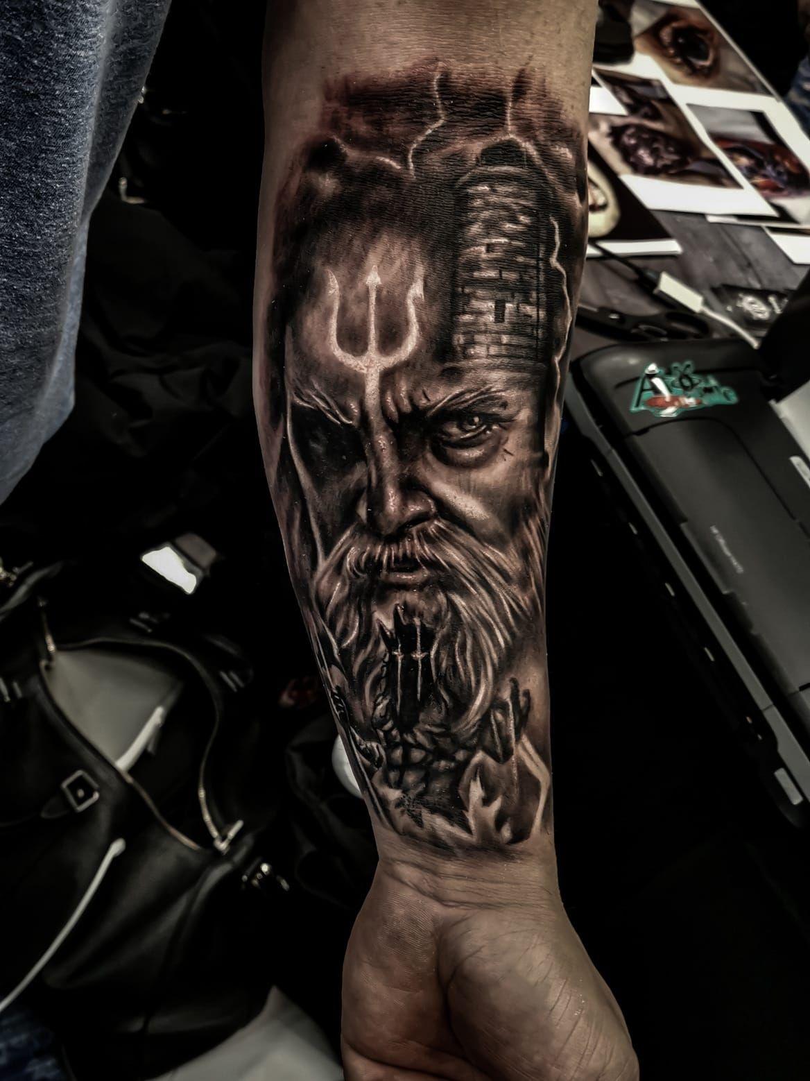 Poseidon Tattoo: Poseidon Tattoo By Renato. Limited Availability At