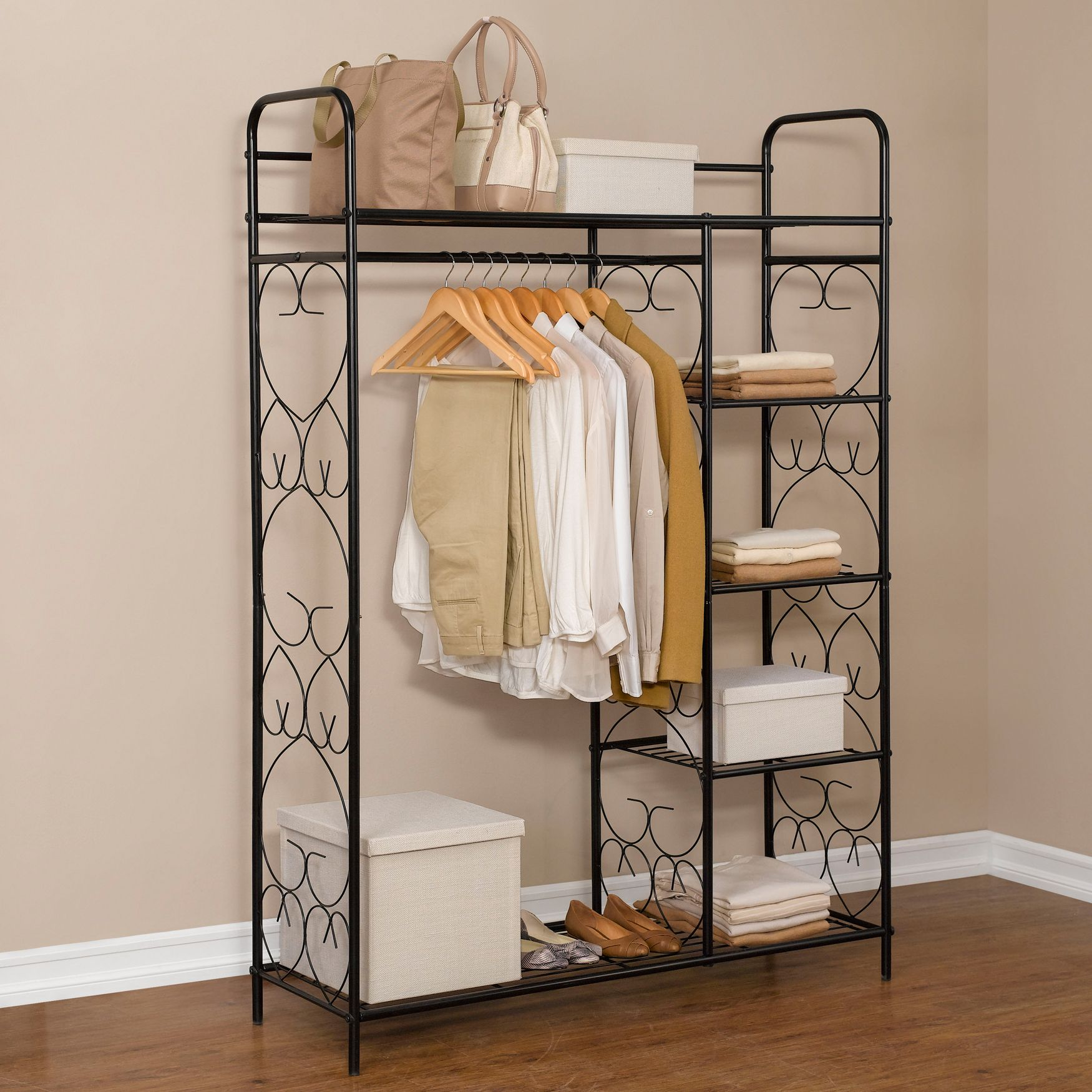 5 Tier Metal Closet With Hanging Rod | Closet U0026 Space Savers | Brylanehome