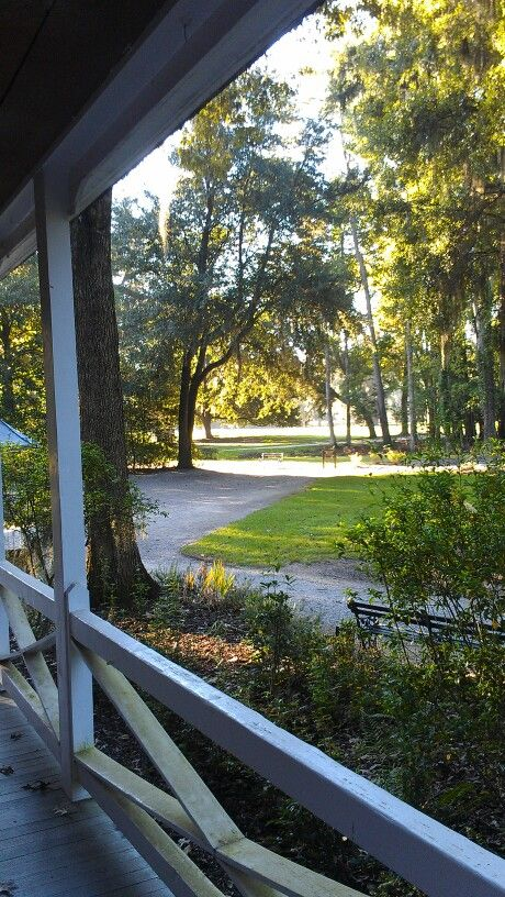 Terrific view from Drayton Hall' s gift shop. Love this sime porch. This site is an architect's dream!