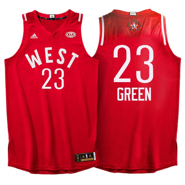 2016 NBA All Star Western Conference Warriors #23 Draymond Green Red Jersey