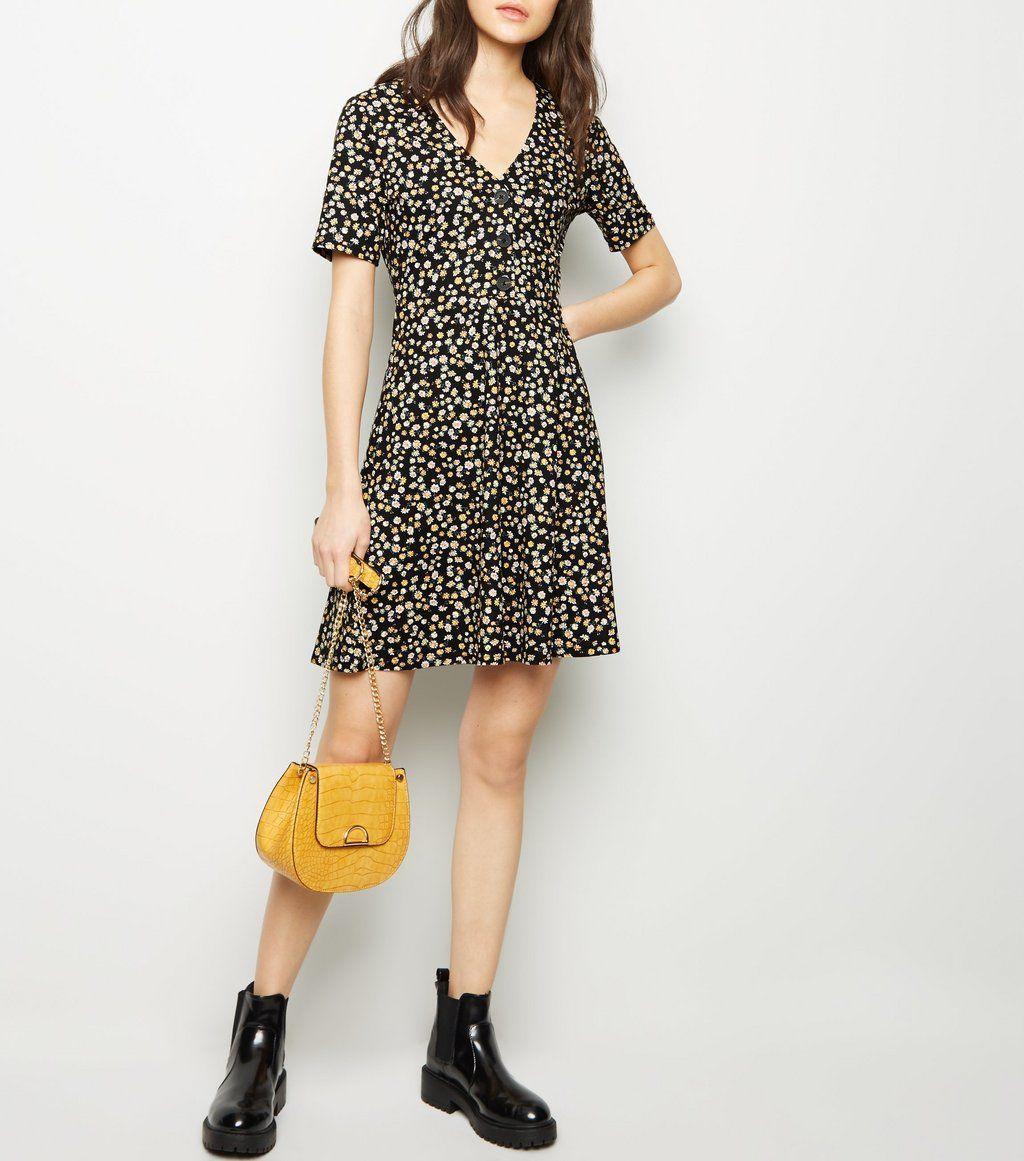 5435cd7ede Black Bright Floral Button Through Midi Tea Dress New Look - Gomes ...