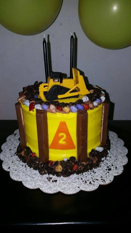 Construction cake with bull dozer on top Birthday Cake created by