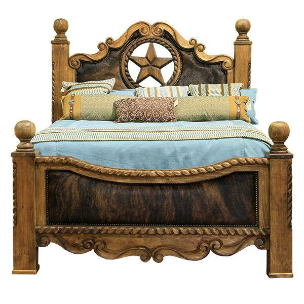 Cowhide Bed With Star King Or Queen Side Rails And Slats Included Top Quality Western Bedroom Western Furniture Transitional Living Room Furniture