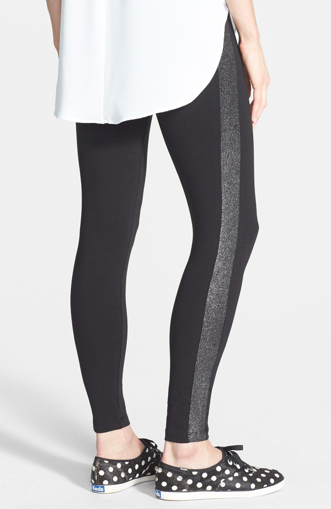 Get in my closet! Adore the glittery stripe on these Kate Spade tuxedo leggings and of course the polka dot Keds!