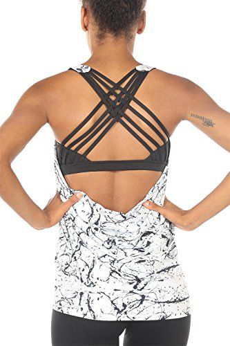 47298e0bf468e icyzone Yoga Tops Workouts Clothes Activewear Built in Bra Tank Tops for  Women