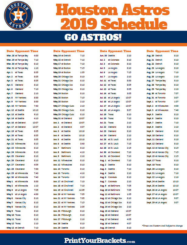 image about Astros Schedule Printable known as Printable 2019 Houston Astros Routine Printable MLB