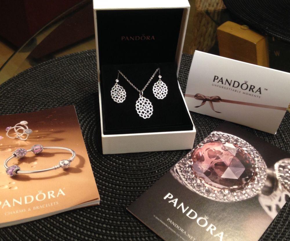 82e683e0e Authentic Pandora SHIMMERING LACE NECKLACE & earring Set 390358CZ-90 &  290556CZ #PANDORA #Pendant