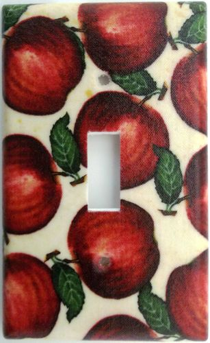 Apple Country Kitchen Fruit Light Switch Outlet Plate Cover Wall Decor Apples. Different plate styles available.