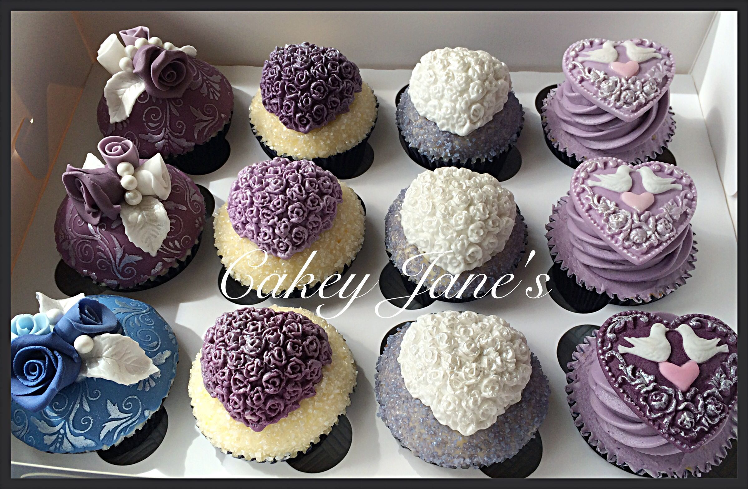 Wedding cupcakes purple blue and silver vintage theme carrot and