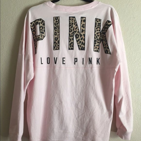 Baby pink leopard varsity crew Like new condition. Worn twice. Washed once, laid flat to dry. In perfect condition. TAKING OFFERS ONLY. Not my selling price. Will sell to the highest offer. No trades. Fits like an XS, however it is oversized. PINK Victoria's Secret Sweaters Crew & Scoop Necks