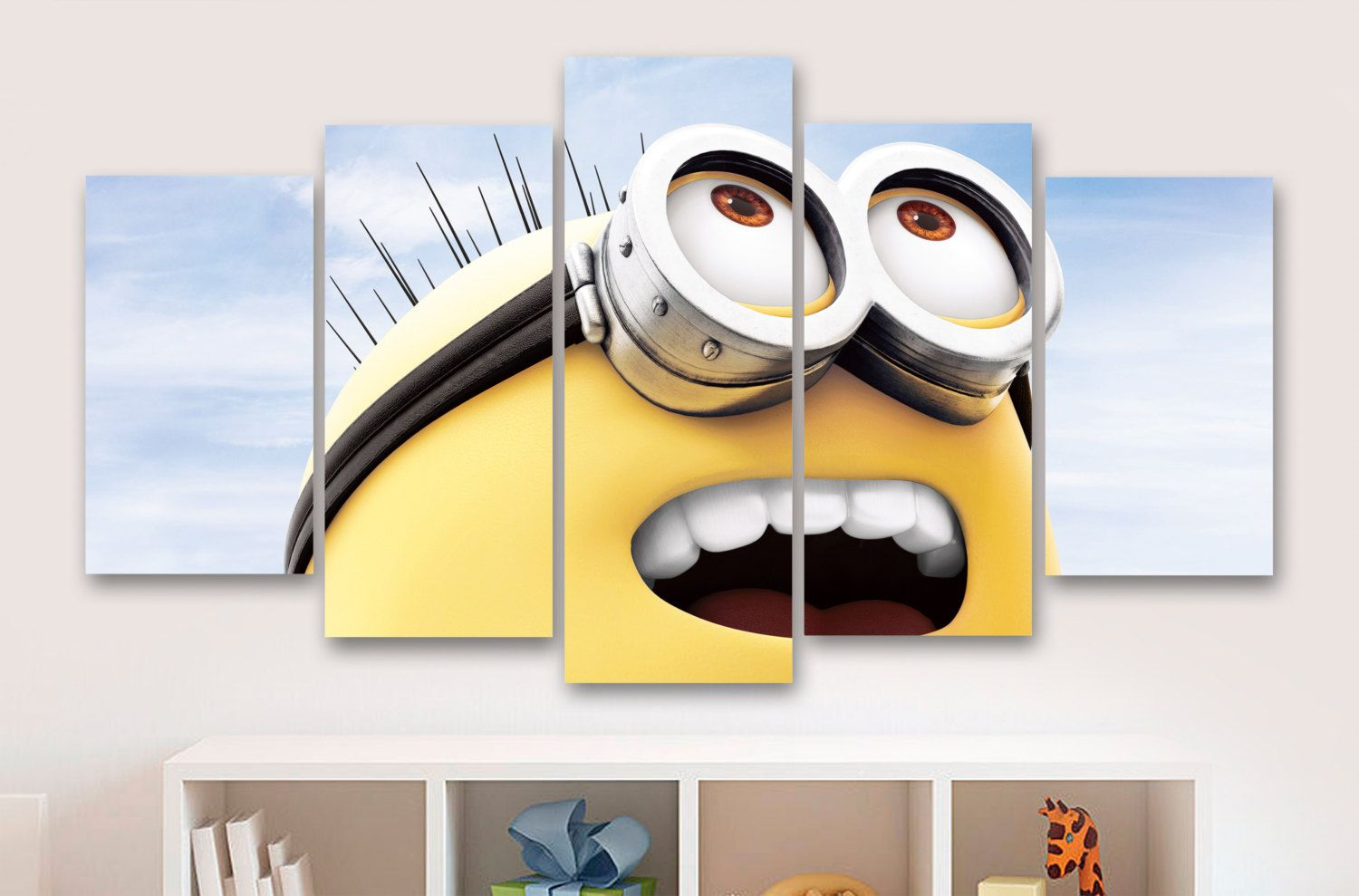 Minions 5 Panel / Piece Canvas - Wall Art - Childrens Bedroom ...