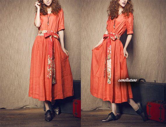 Long Cocktail Dress/ Linen dress/ Orange Bridesmaid Dress (Custom Made). $74.00, via Etsy.