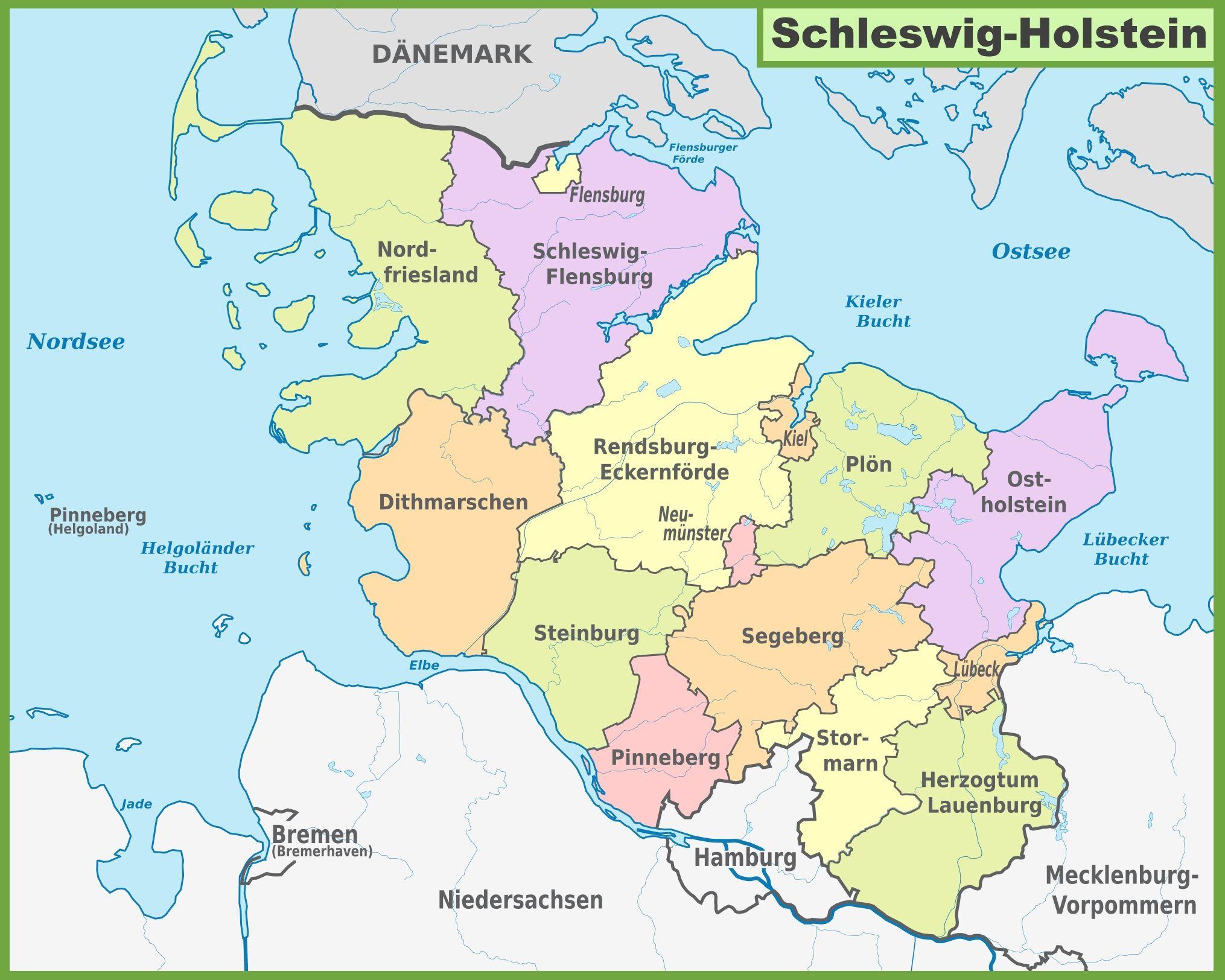 Schleswig Holstein Map Holstein Schleswig Map German Map