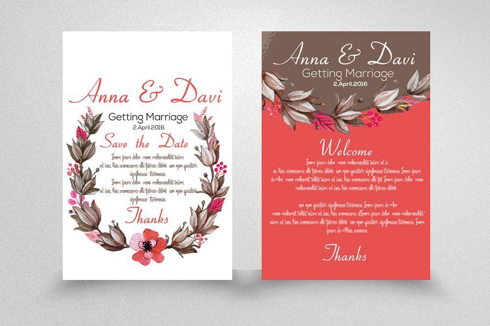 Wedding Double Sided Invitation Cards Wedding Invitation Size