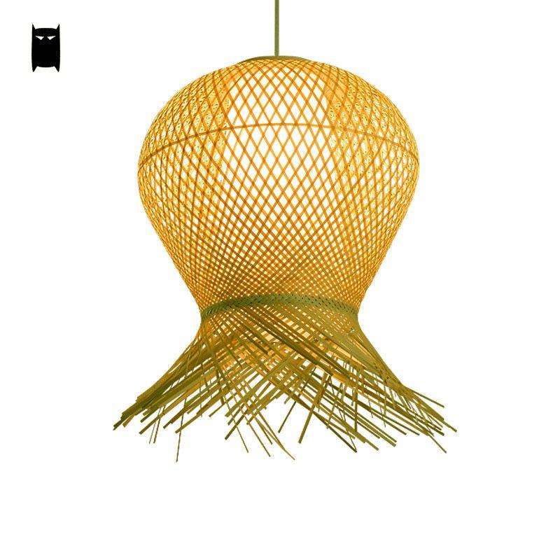 Bamboo wicker rattan pendant light fixture asian rustic hanging bamboo wicker rattan pendant light fixture asian rustic hanging ceiling lamp aloadofball Choice Image