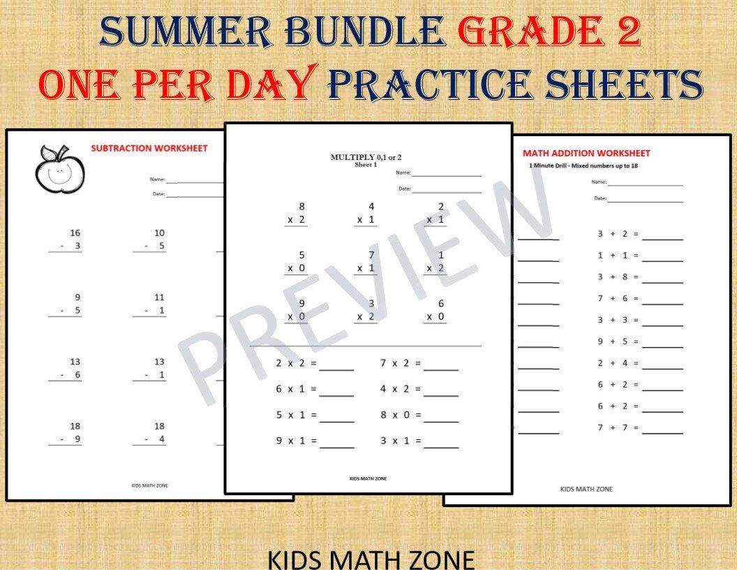Grade 2 Summer Bundle One Per Day Over 110 Worksheets