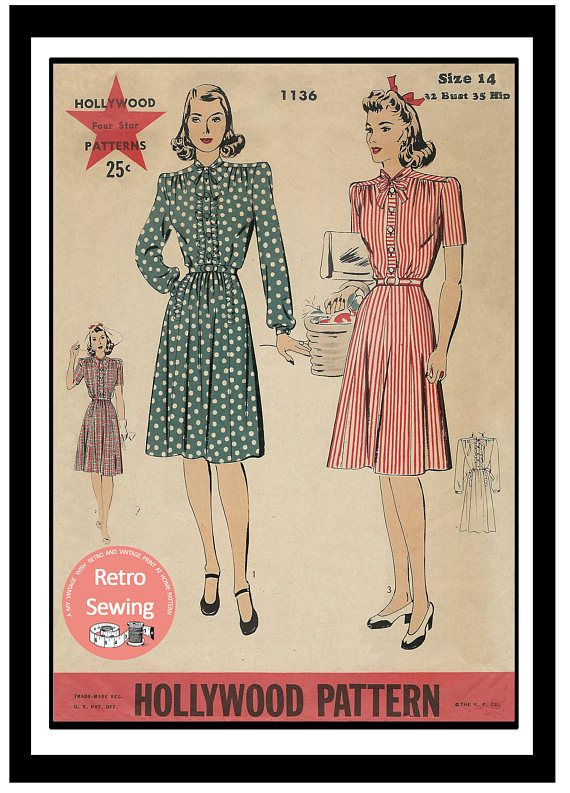 1940s Wartime Tea Frock Sewing Pattern PDF Instant download ...