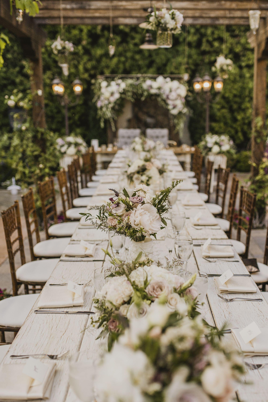 Beautiful Garden Wedding In San Juan Capistrano Orange County Ca Whitewash Farm Tables Lavender Color Outdoor Wedding Wedding Decorations Greenery Wedding