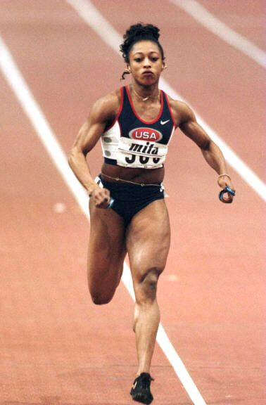 1996 Gail Devers - My cousin!!! I love her ponytail!   Fitness photography,  Athlete, Female pose reference