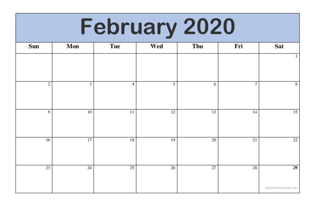 Fillable Blank February Calendar 2020 Printable Editable Template