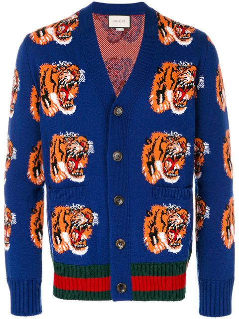 b0ab7e5bb Gucci Tiger jacquard wool cardigan | fashion prints | Mens striped sweater, Wool  cardigan, Fashion