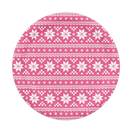 Hot Pink Fair Isle Christmas Sweater Pattern Paper Plate ...