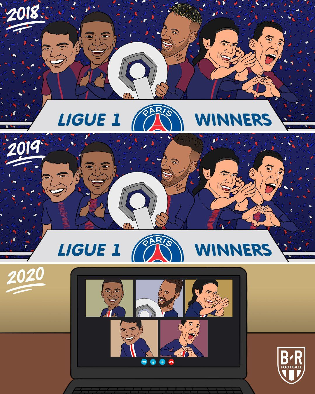 PSG are named French champions for the third year in a row
