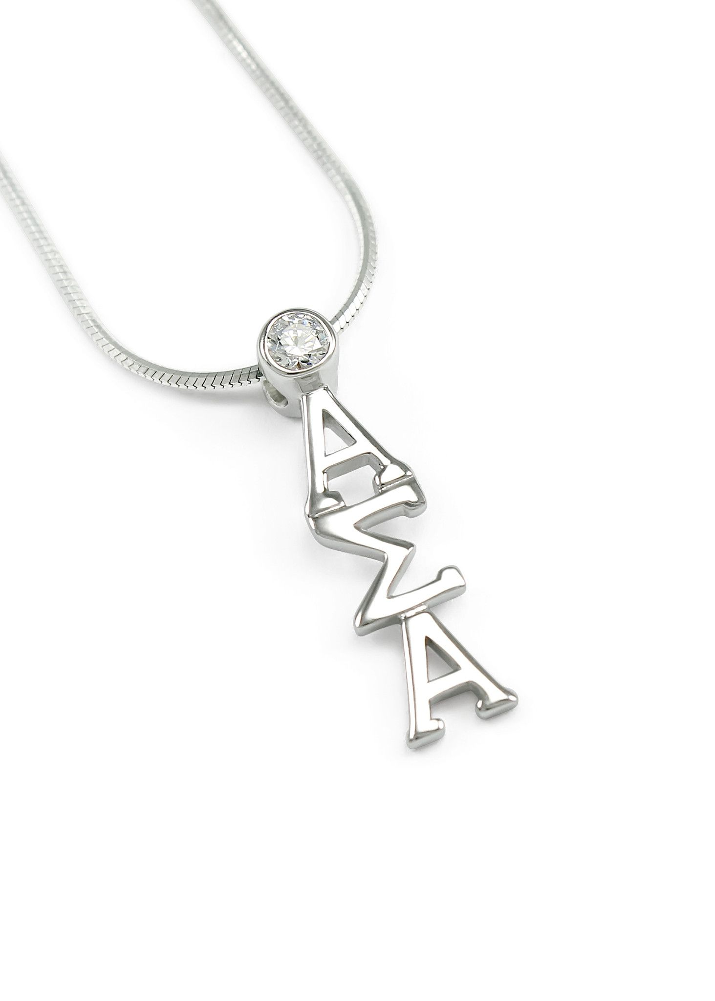 Alpha Sigma Alpha Sterling Silver Lavaliere Pendant with Swarovski™ Clear Crystal