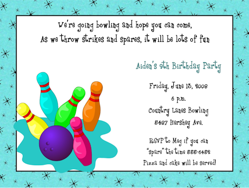Cosmic Bowling Birthday Party Invitations parties – Bowling Invitation Template