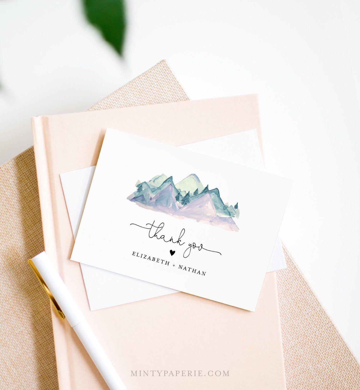 Mountain Thank You Card Template, Editable Wedding, Bridal
