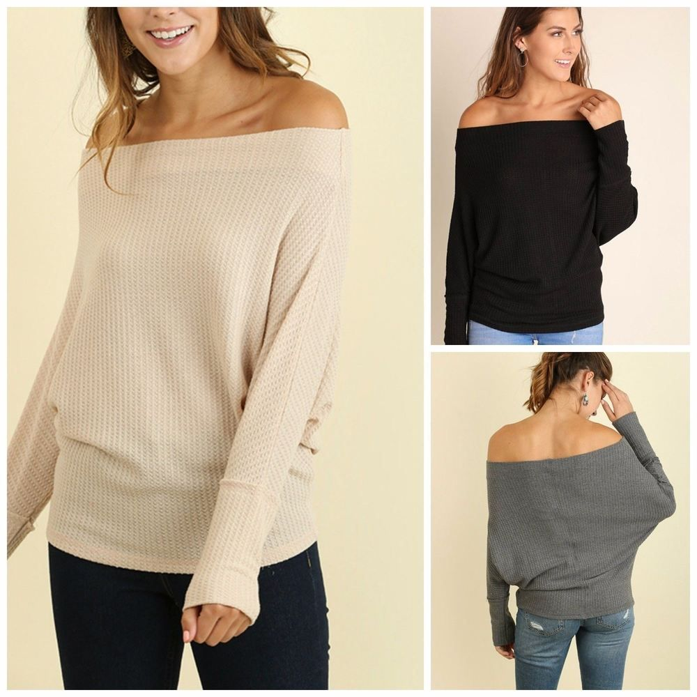 c1a6ba4d7782c UMGEE off shoulder Top long sleeve batwing Blouse S M L  umgee  KnitTop   casual