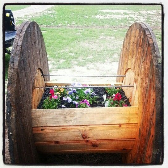 Wire Reel Flower Bed For The House Wooden Cable Reel
