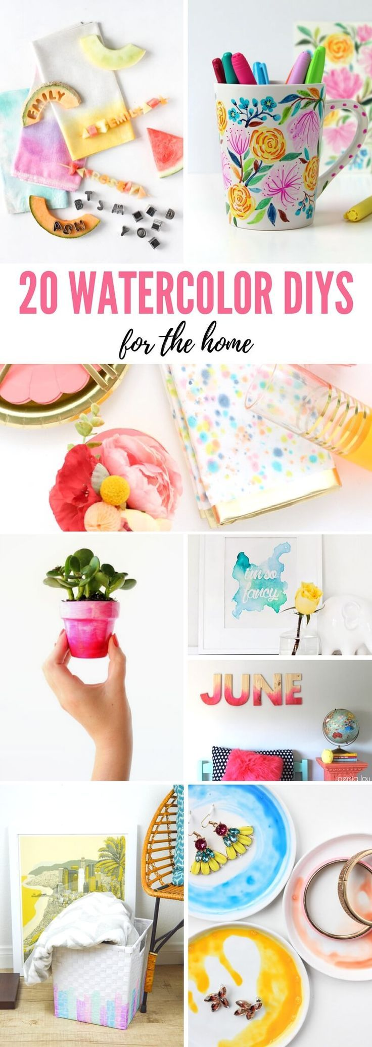 20 Vibrant Watercolor DIYs For Your Home #diy #diyproject