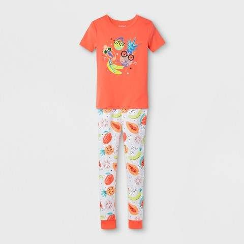 54103d7af Girls  Short Sleeve Fruits Printed Pajama Set - Cat   Jack™ Orange 6 ...