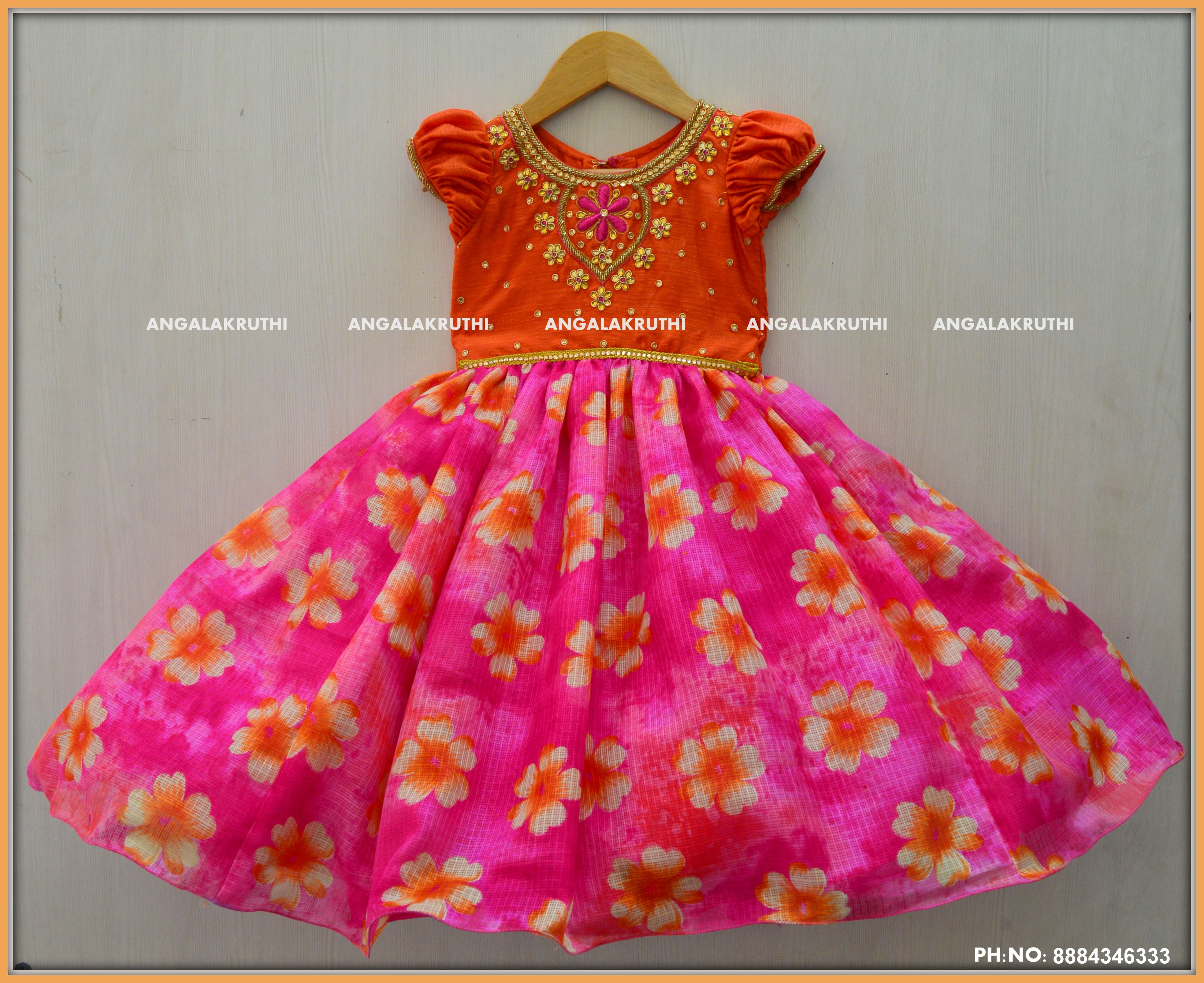 Floral Kids Frock with hand Embroidery by Angalakruthi Bangalore