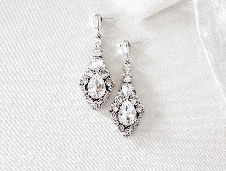 Crystal Bridal Earrings Bridal Jewelry Swarovski Statement Etsy In 2020 Wedding Earrings Drop Bridal Earrings Crystal Drop Earrings Wedding