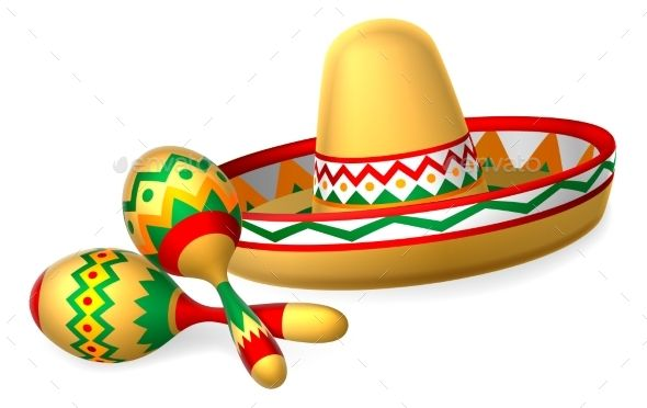 Mexican Sombrero Hat And Maracas Shakers Mexican Sombrero Hat Mexican Pattern Mexican Hat