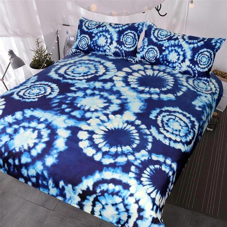 Blue Tie Dye Hippie Quilt Cover 3 Piece Bedding Set